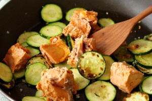 Salmon Zucchini Linguini in pan