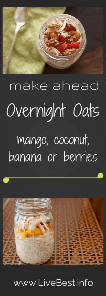 Mango Coconut Overnight Oats | An easy make-ahead recipe! Mango, strawberries, almond butter, crystallized ginger, coconut, oats, yogurt are worth waking up for. This is one quick and easy breakfast. www.LiveBest.info