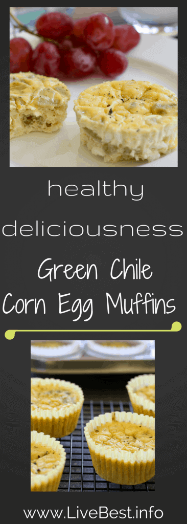 Green Chile Egg Muffins | High protein, low sugar Green Chile Egg Muffins are dietitian-approved! Eggs, cottage cheese, corn and more, these are flavorful and savory! www.LiveBest.info