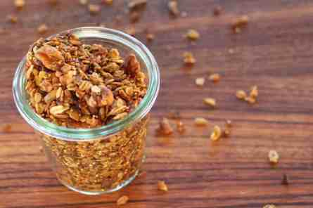 Jar of pumpkin spice seedy granola