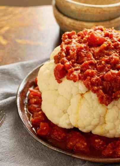 Cauliflower with Spicy Tomato Sauce on plate