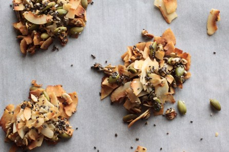 3 coconut seed clusters on parchment paper