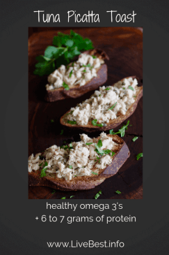 photo of tuna toast with healthy omega 3 fast and protein