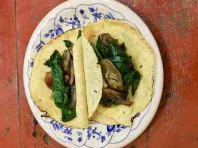 Plate of 2 Mushroom Spinach Tacos