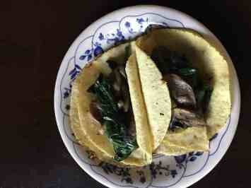 Mushroom Spinach tacos on plate
