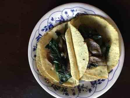 Mushroom Spinach tacos on plate