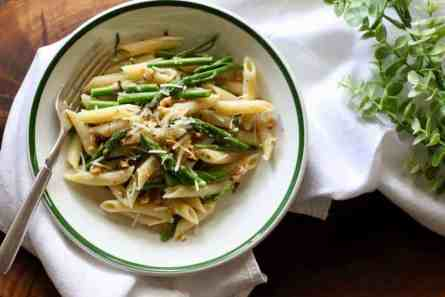 bowl of asparagus blue cheese pasta