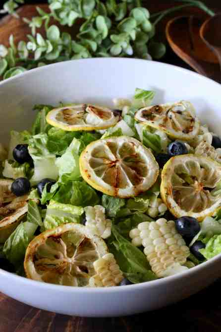 salad with grilled lemon and corn plus fresh blueberries