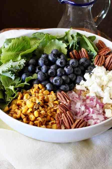 Blueberry, corn, quinoa, pecans, feta