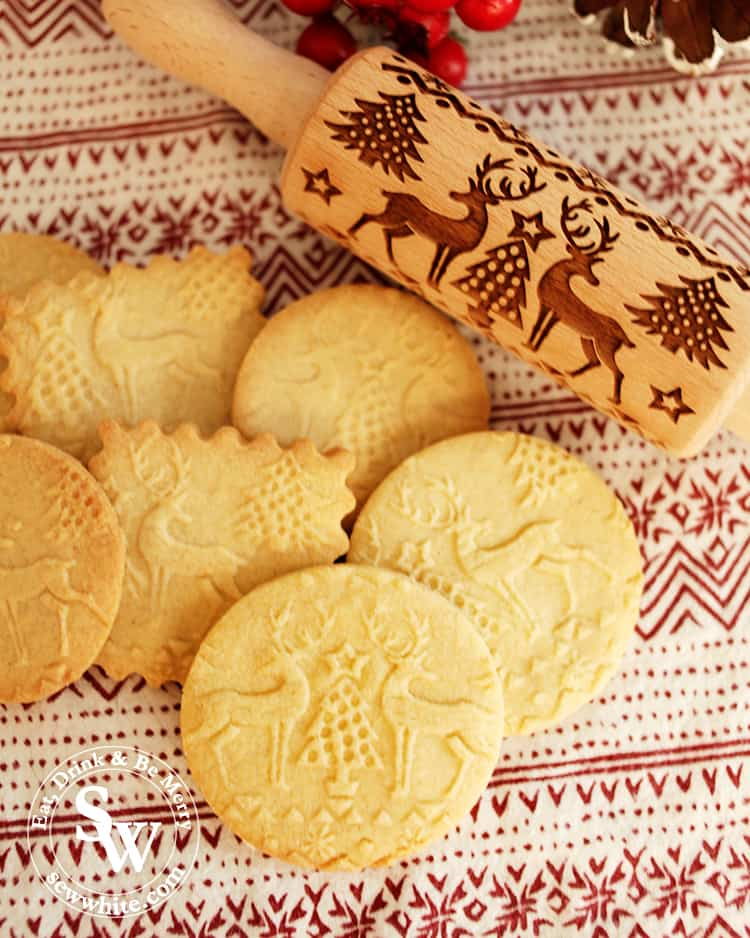 rolling pin biscuits with reindeer and christmas tree pattern
