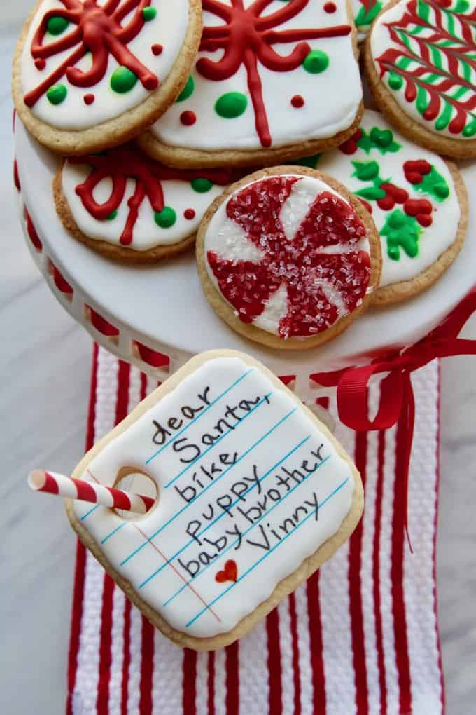 best christmas-themed cookies that look like a letter to Santa