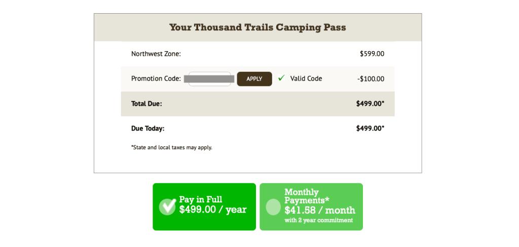 thousand trails membership checkout