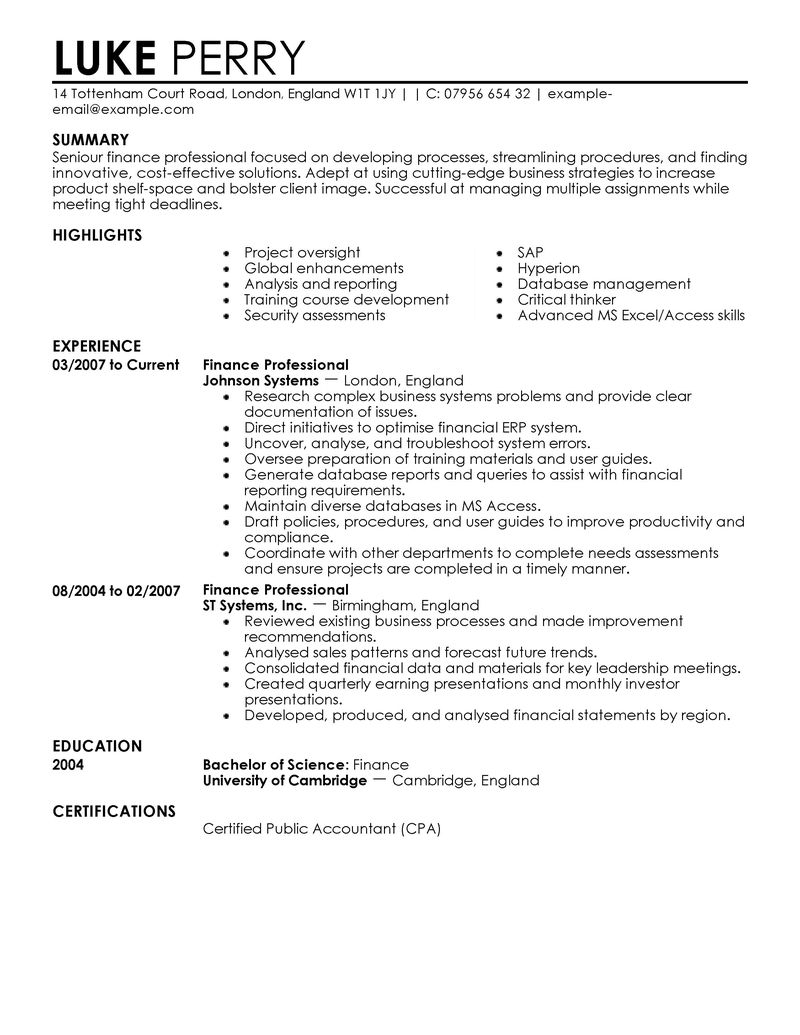 finance resume examples finance resume samples livecareer