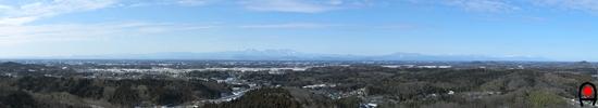 降雪後の益子の森展望塔からの眺めの写真