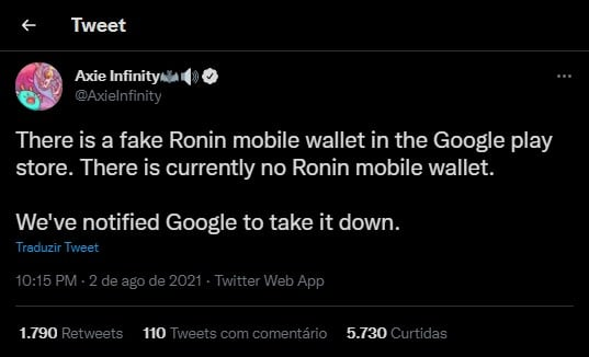 Axie Infinity's Twitter profile warned against fake Ronin on Google Play