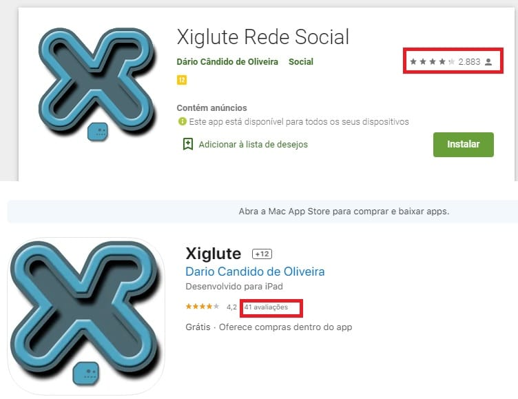 Xiglute social network application is available in official stores, but with few users