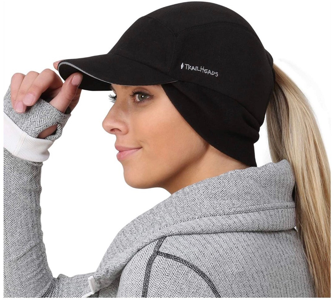 TrailHeads Fleece Ponytail Hat with Drop Down Ear Warmer