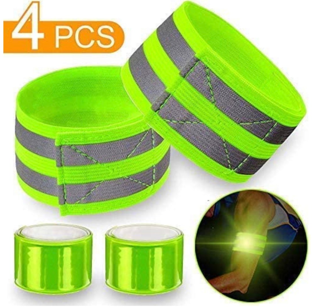 4 pcs Reflective Bands for Wrist, Arm, Ankle, Leg.