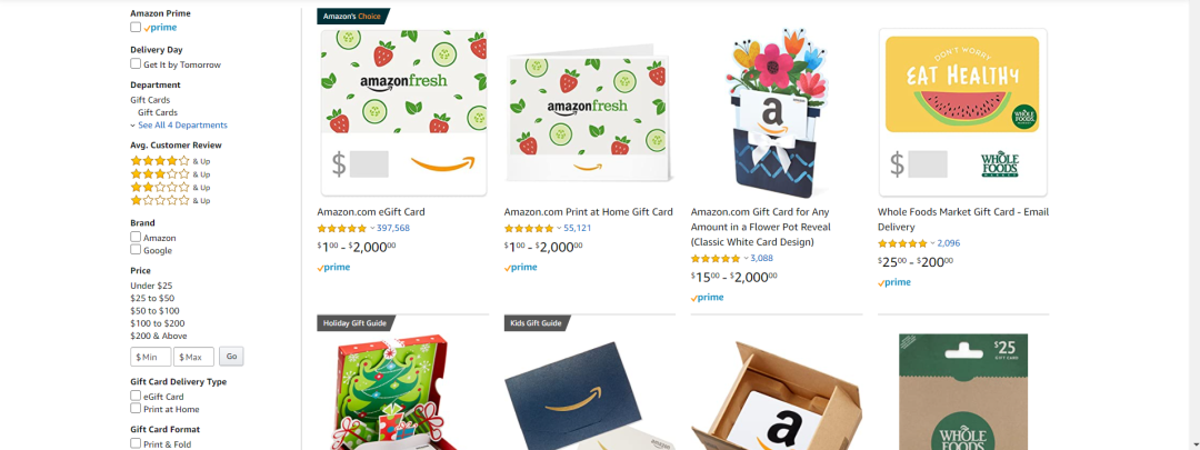 Amazon Fresh Gift Card