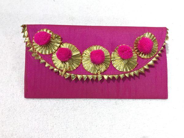 Magenta Gota Shagun Envelope with Magnetic Lock