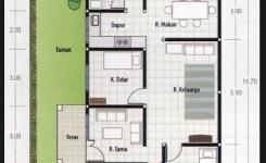 denah rumah 3 kamar ukuran 6×12