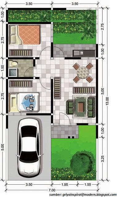 Gambar Desain Rumah Minimalis 6 X 9  gambar denah rumah minimalis ukuran 6x10 terbaru