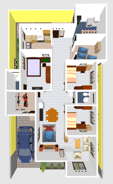 Denah Rumah Minimalis 3 Kamar Tidur Tanpa Garasi denah rumah 3 kamar tidur 1 mushola dalam rumah terbaru