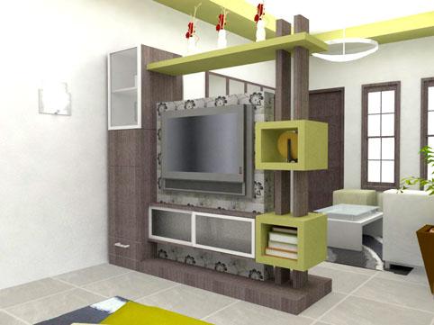 Sekat Ruang Tamu Minimalis Modern 2 Sisi Desain Rumah Minimalis