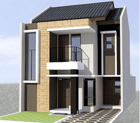 80 Contoh Rumah Minimalis 2 Lantai Modern Sederhana Tampak Depan 10