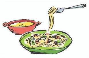 スパゲッティーと女性