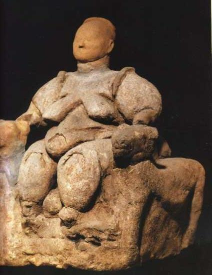 Mother Goddess figure found in Huyuk, Anatolia (424x548)