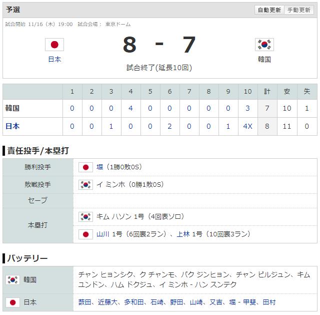 侍ジャパンU-24日本韓国延長サヨナラルーズベルトゲーム