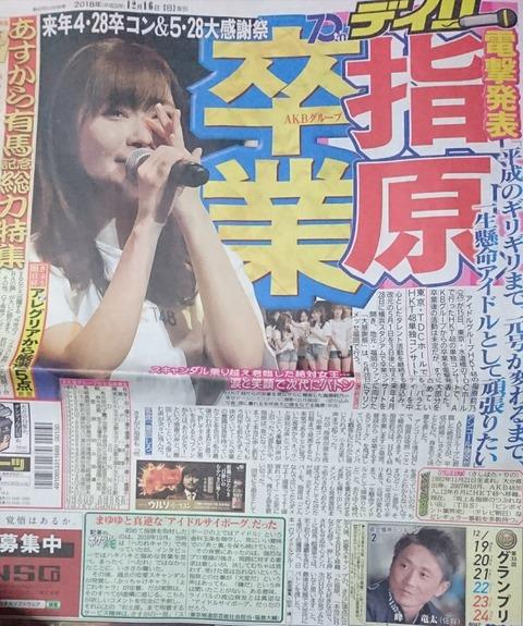 【HKT48】指原莉乃の卒業がスポーツ紙一面トップを飾り芸能欄も独占の破格の扱い