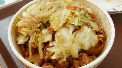 すき屋の野菜炒め丼