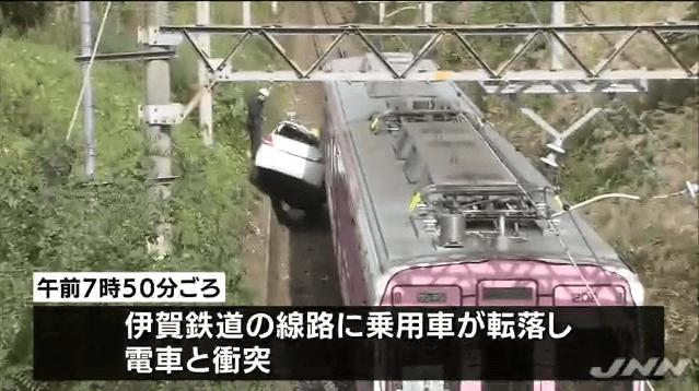 車が線路に転落し電車と衝突、三重・伊賀市 BIGLOBEニュース