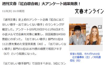 NHK紅白に出てほしくない歌手ランキング1位 和田アキ子 2位 AKB48 3位 嵐 【週刊文春アンケート】https://rosie.2ch.net/test/read.cgi/akb/1510139946/