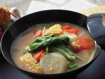 水菜たっぷり酒粕生姜味噌雑煮