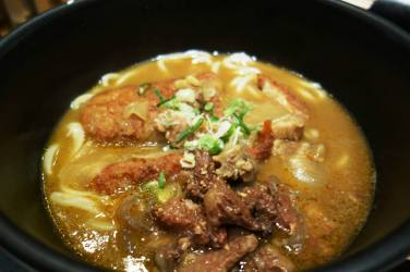 Karē udon (Curry udon) with Beef, Chicken; Prawn