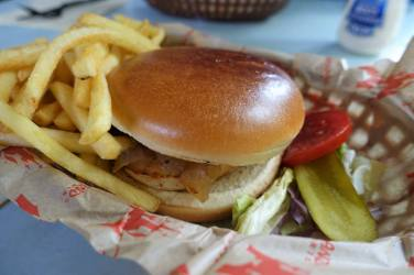 Roasted Chicken Burger with Fries and Pickles
