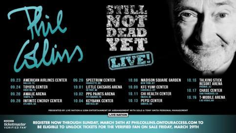 Phil Collins, Phil Collins Tour, Phil Collins Tour 2019, Phil Collins US Tour, Phil Collins Still Not Dead Yet, Phil Collins Not Dead Yet