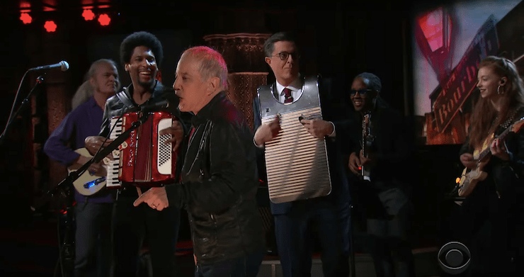 """Paul Simon Recruits Stephen Colbert To Help Perform """"That Was Your Mother"""" On 'The Late Show' [Watch]"""