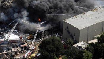 Fire destroys vinyl manufacturing plant Universal-Backlot-Fire-1