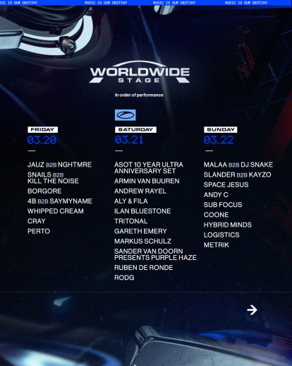 Ultra Music Festival schedules