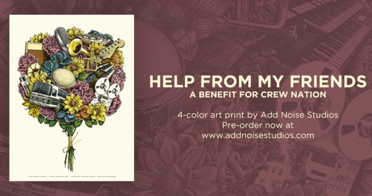 Help From My Friends Poster, Mike Tallman, Michael berg, mke tallman art, mike tallman poster, crew nation