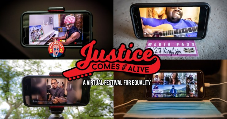 justice comes alive, justice comes alive virtual festival, plus1 for black lives fund, black lives matter, virtual music festival, justice comes alive, quarantine comes alive
