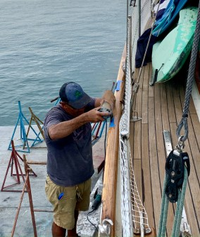 Had Mr. Beto cut perfect grooves in the toe rail for the chainplates while the boat was hauled.