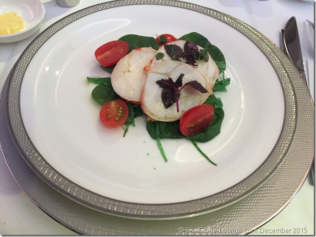 SQ Suites Lunch Service: Lobster Medallion on Baby Spinach