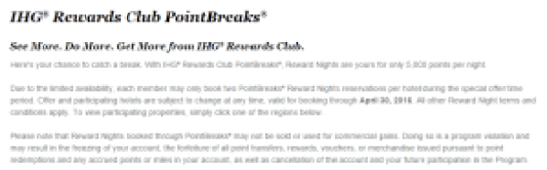 IHG PointBreak Promotion