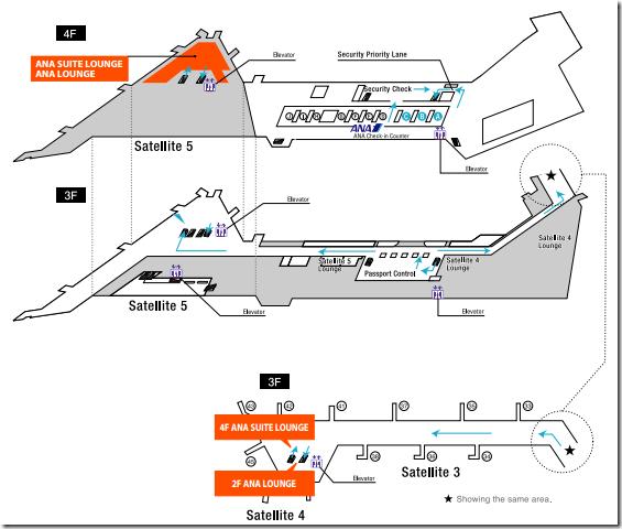Tokyo Narita ANA Suite Lounge navigation map