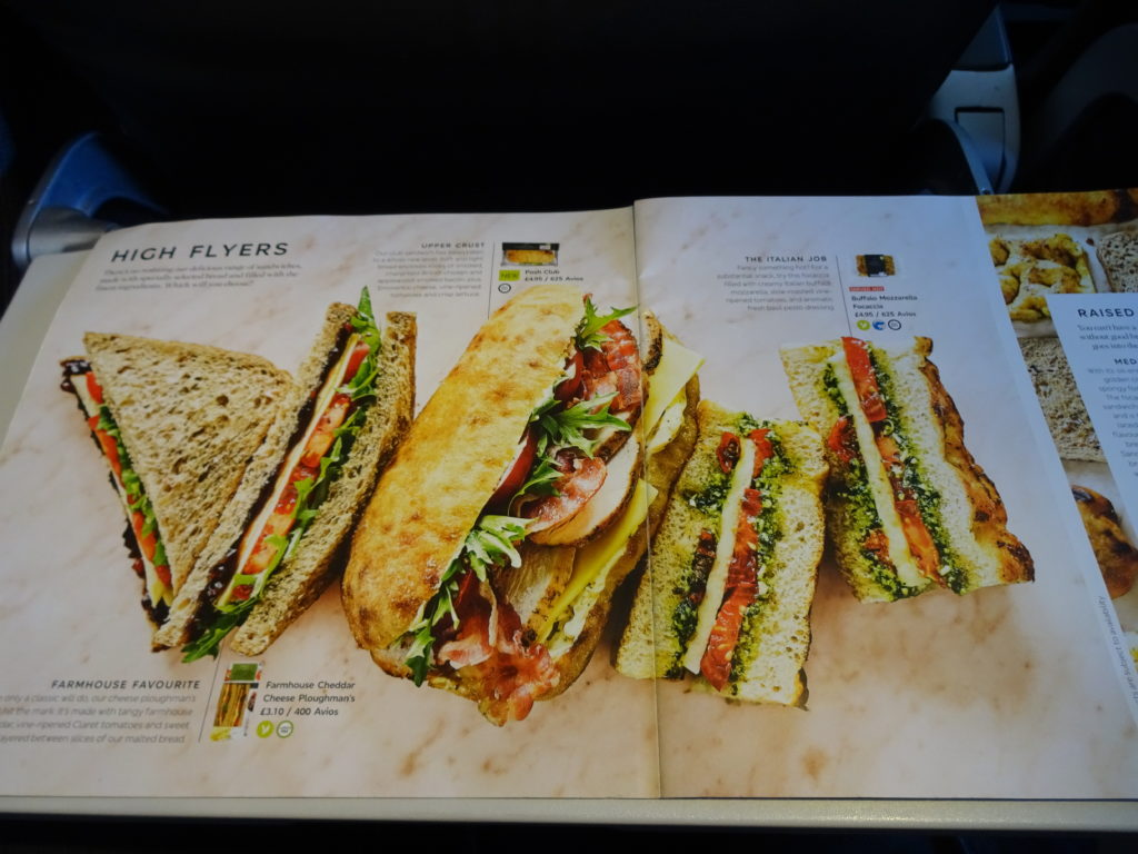 Sandwich Menu British Airways Buy on Board
